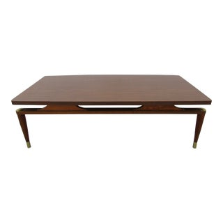 Floating Top Coffee Table With Brass Accents For Sale