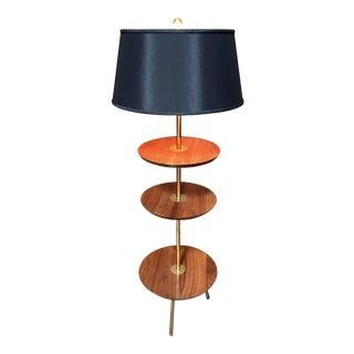 1960s Mid-Century Modern Tri-Level Walnut Floor Lamp For Sale