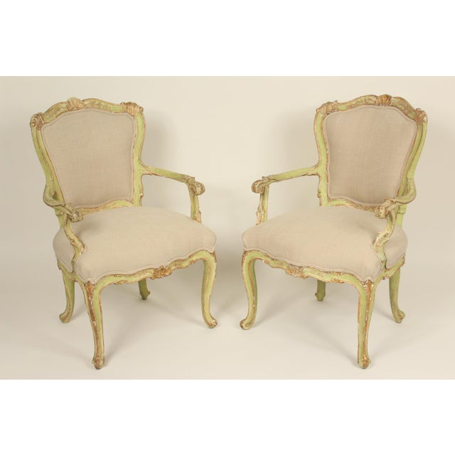 Late 19th Century Antique Louis XV Style Painted Armchairs- A Pair For Sale - Image 13 of 13