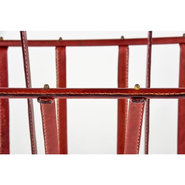 Jacques Adnet 1950s Stitched Leather Magazine Rack by Jacques Adnet For Sale - Image 4 of 9