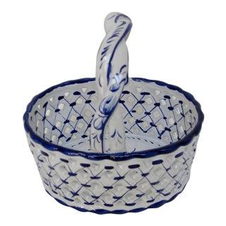Portuguese Porcelain Basket For Sale
