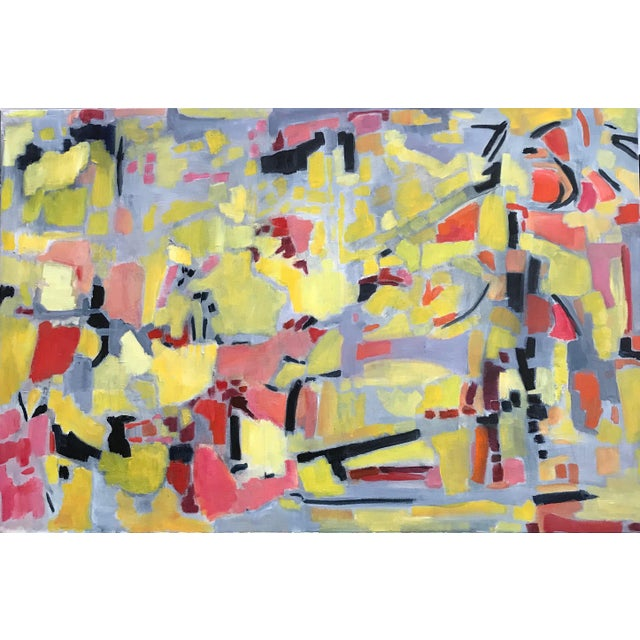 Somehow this painting is painted like doing puzzle pieces. One piece informs the next and so on. Shapes are vivid using...