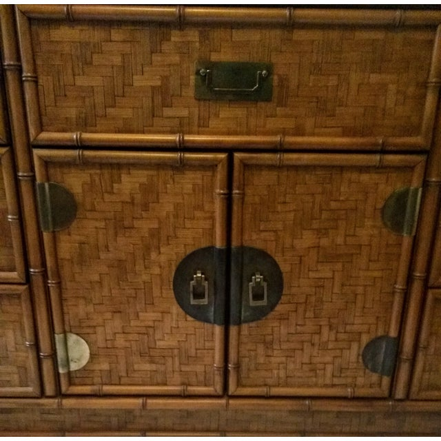 1960s 1960s Campaign Dixie Furniture Co Faux Bamboo & Woven Wicker Dresser and Mirror Set - 3 Pieces For Sale - Image 5 of 11