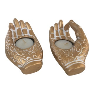 Pair of Gilt Ceramic Yoga Hand Mudras Tea Light Holders For Sale