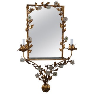 Vintage Italian Gilt Foliate & Crystal Double Candle Light Sconce Display For Sale