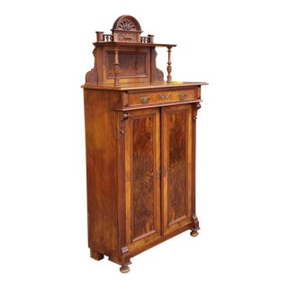 Antique 19th Century American Victorian Renaissance Burl Walnut Tall Cabinet C1880 For Sale