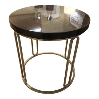 Modern Round High Gloss Wood Side Table With Chrome Base For Sale