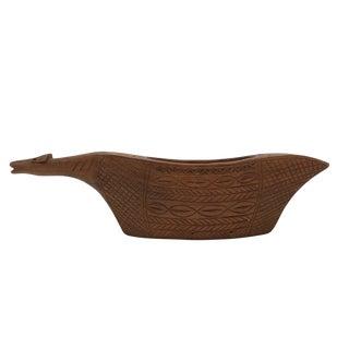 1970s Vintage Yugoslavian Hand-Carved Wooden Animal Shaped Vessel For Sale