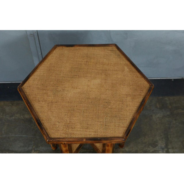 Modern Jw Custom Line Tiger Bamboo Hexagonal Side Table For Sale - Image 3 of 6