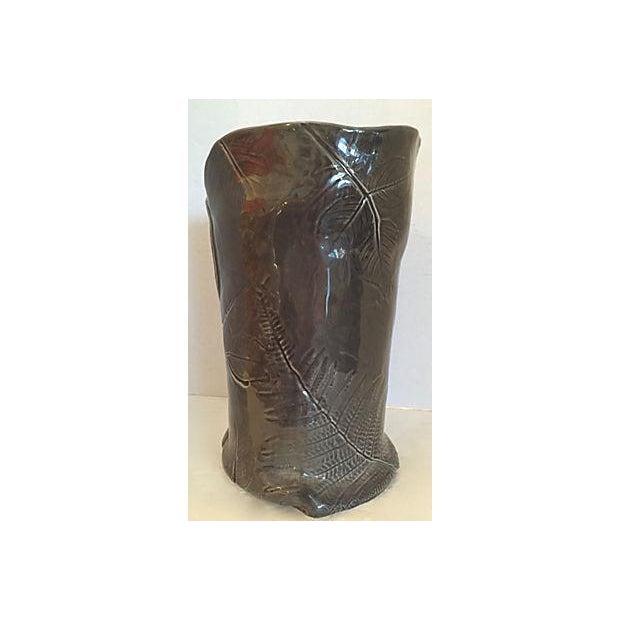 Dark Gray Vase with Leaf Design For Sale - Image 5 of 7