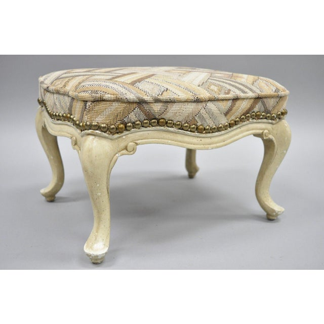 Petite French Provincial Louis XV Style Cream Painted Ottoman Small Footstool For Sale - Image 9 of 12