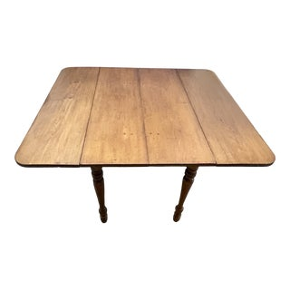 19th Century Maple Drop Leaf Table With Extension Leaf For Sale