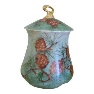 Art Nouveau Hand Painted Porcelain Canister For Sale
