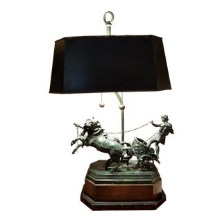 French Empire Style Neoclassical Roman Gladiator in Chariot Tole Lamp