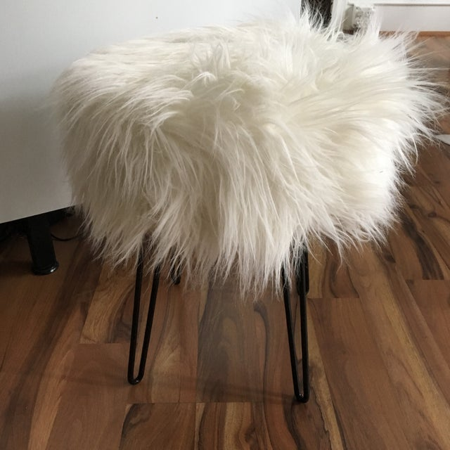 Contemporary Vintage White Fluffy Stool For Sale - Image 3 of 8