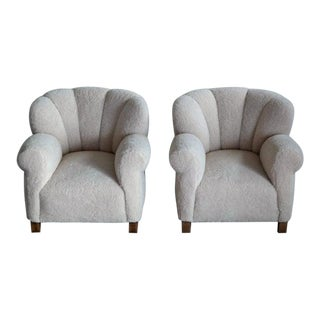 Danish Fritz Hansen Model 1518 Large Club Chair in Lambswool, 1940s - a Pair For Sale