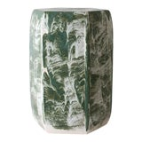 Image of Paul Schneider Ceramic Hexagonal Stool in Drip Brushed Forest Glaze For Sale