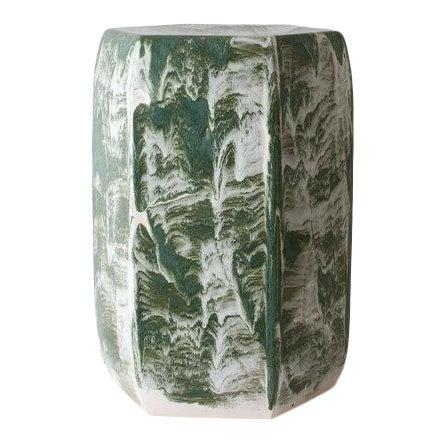 Paul Schneider Ceramic Hexagonal Stool in Drip Brushed Forest Glaze For Sale