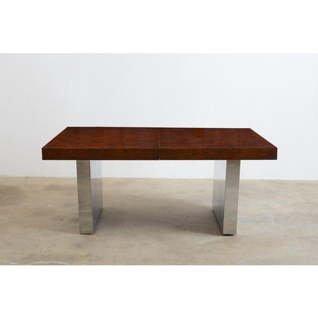 Milo Baughman Burl Wood Chrome Extension Dining Table For Sale - Image 11 of 13