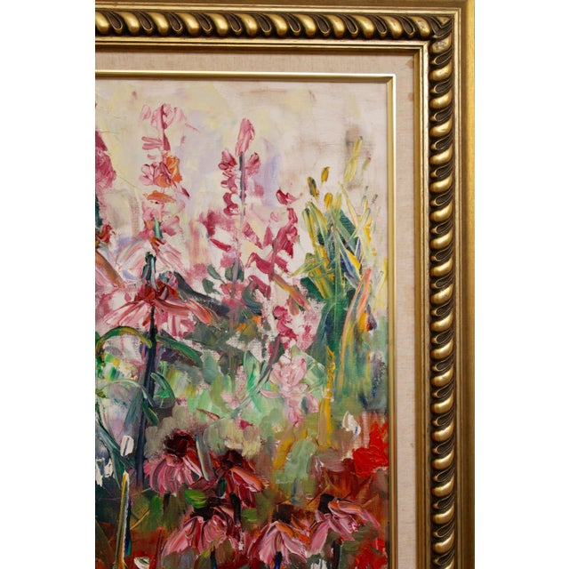 """Large Impressionist Botanical Framed Original Oil Painting, """"Fire Candle"""" by Geraldine Harty For Sale - Image 6 of 13"""