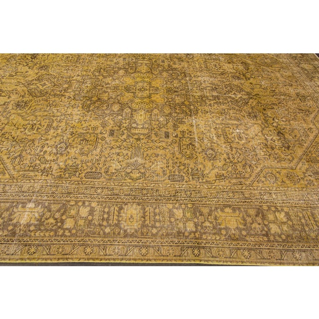 Apadana Yellow Over-Dyed Rug - 9′5″ × 12′8″ For Sale In New York - Image 6 of 7