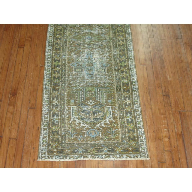 Islamic Persian Shabby Chic Heriz Runner - 2'9'' x 10'8'' For Sale - Image 3 of 6