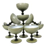 Image of Vintage Carlo Moretti Smoke Cased Glass Coupes - Set of 9 For Sale