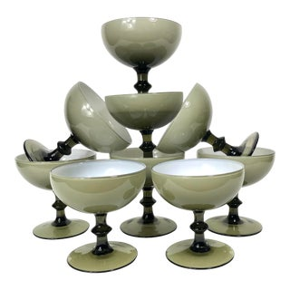 Vintage Carlo Moretti Smoke Cased Glass Coupes - Set of 9 For Sale