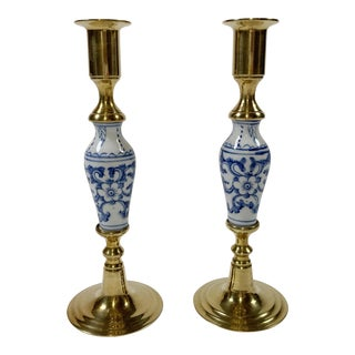 Delft Style Candlesticks, Pair For Sale