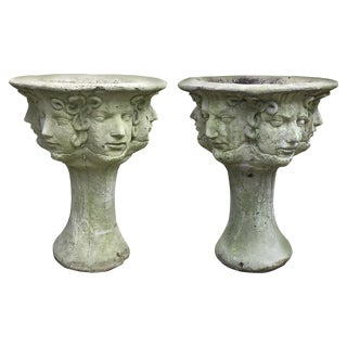 Early 20th C. French Medusa Head, Faces, and Snakes Cement Planters - a Pair For Sale
