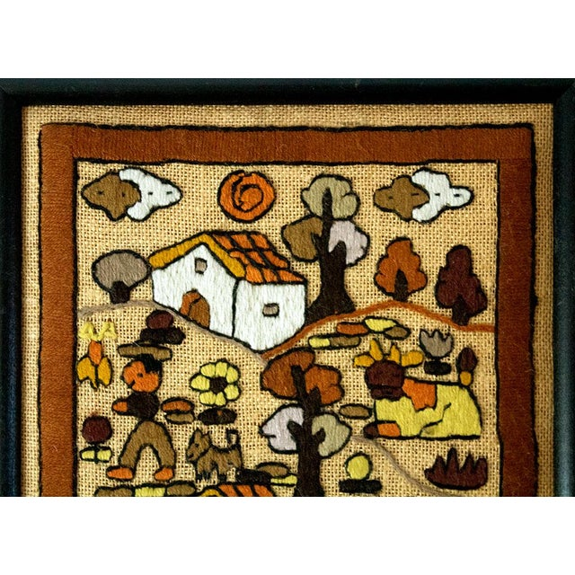Folk Art Hand Embroidery Textile Art For Sale - Image 4 of 7