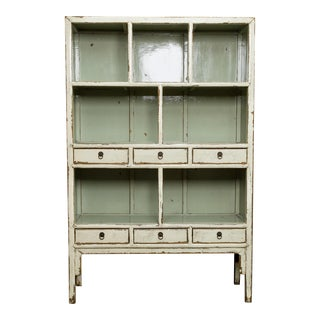 Large Chinese Open Shelf Cabinet With Cream Colored Lacquer Finish