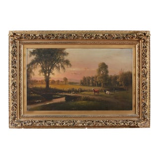 Large Giltwood Framed Oil / Board Painting For Sale