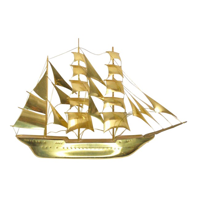 Vintage Mid-Century Brass Ship Figurine For Sale