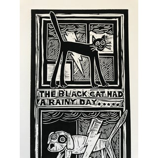"""Original """"Parable #2"""" Black Cat, White Dog Hand Pulled Linocut Print Preview"""