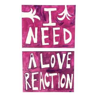 """Pink """"I Need a Love Reaction"""" Paintings-A Pair For Sale"""