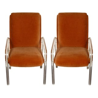Leon Frost Signed Lucite Armchairs - a Pair For Sale