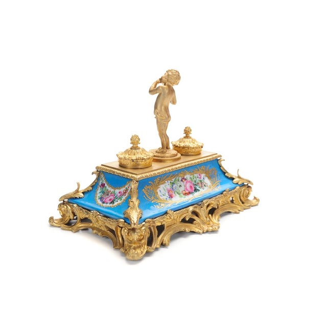 18th C. French Gilt Bronze & Porcelain Inkwell - Image 7 of 9