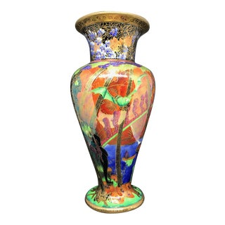 Antique Early 20th Century Wedgwood Imps on the Bridge Fairy Land Lustre Vase For Sale