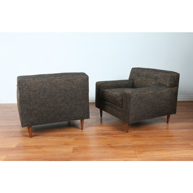 Gray Cubed Lounge Chairs- A Pair - Image 5 of 10