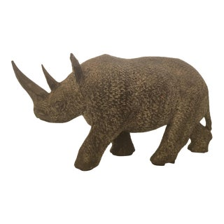 Finley Carved Wood Rhinoceros Table Sculpture
