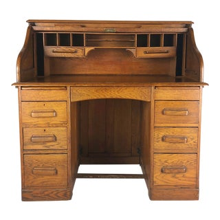 19th Century Arts and Crafts Oak S-Curve Roll Top Desk For Sale