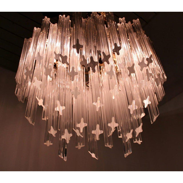 Modern Camer Mid-Century Modern Murano Chandelier Glass Prisms Light Fixture For Sale - Image 3 of 9