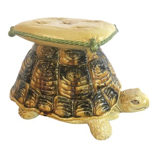 Vintage Italian Turtle Garden Stool Glazed Painted Terra Cotta For Sale