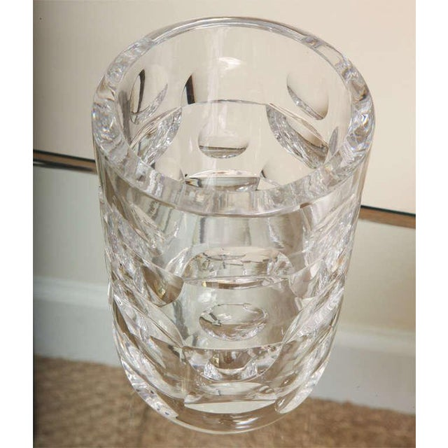 Mid-Century Modern Signed Crystal Glass Vase By Orrefors For Sale - Image 3 of 5