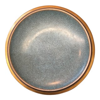 Royal Copenhagen Denmark Aqua Crackle Glaze Bowl For Sale