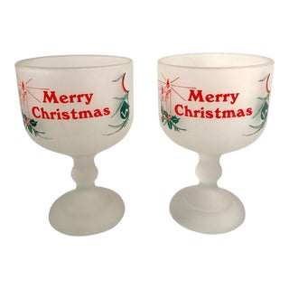 Americana Tiara Merry Christmas Frosted Glass Beer Mugs - a Pair For Sale