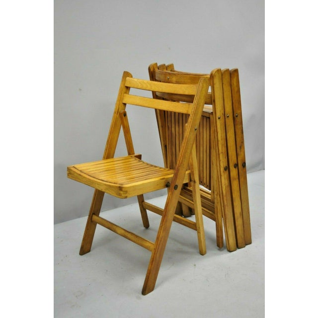 Mid-Century Modern 1950s Vintage Wood Slat Folding Dining Game Chairs- Set of 4 For Sale - Image 3 of 11