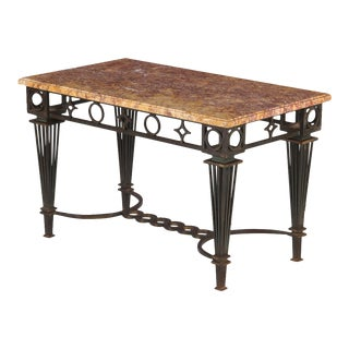 French Art Deco Gilbert Poillerat Iron and Marble Coffee Table For Sale