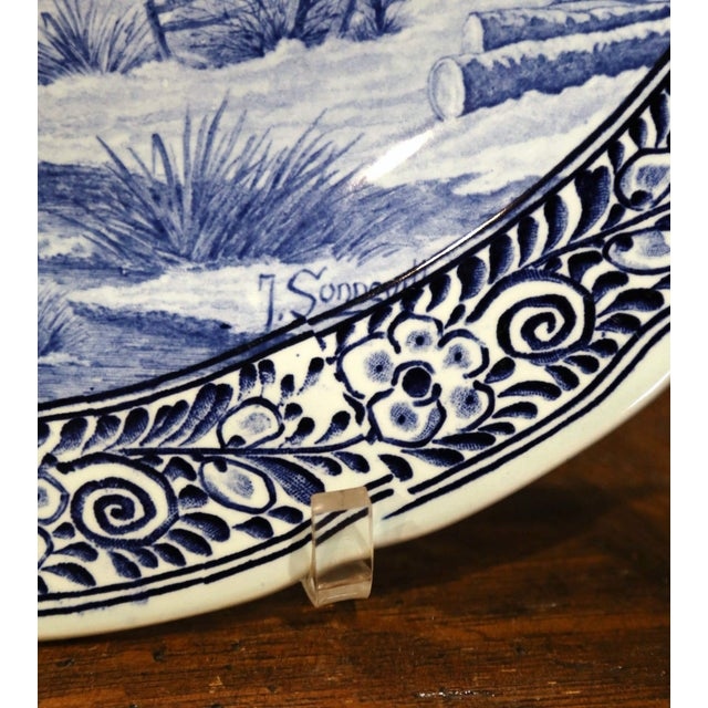 Mid 20th Century Mid-Century Dutch Hand Painted Royal Sphinx Maastricht Delft Platter For Sale - Image 5 of 11
